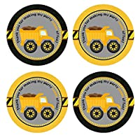 Construction Dump Truck Thank You Sticker Labels - Boy Kid Birthday Party Favor Labels - Set of 30