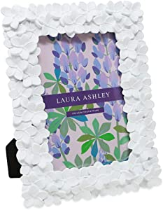 Laura Ashley 4x6 White Flower Textured Hand-Crafted Resin Picture Frame w/ Easel & Hook for Tabletop & Wall Display, Decorative Floral Design Home Décor, Photo Gallery, Art (4x6, White)