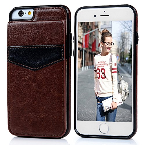 """iPhone 6S, iPhone 6(4.7""""), YOKIRIN Business Premium PU Leather Wallet Cover Heavy Duty Handcrafted Durable Protective Cover with Kickstand Credit Card Slots Holder Skin Shell, Brown"""