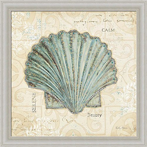 Beach Treasures I Emily Adams Blue Seashell Art Print Framed Picture Wall Décor Artwork