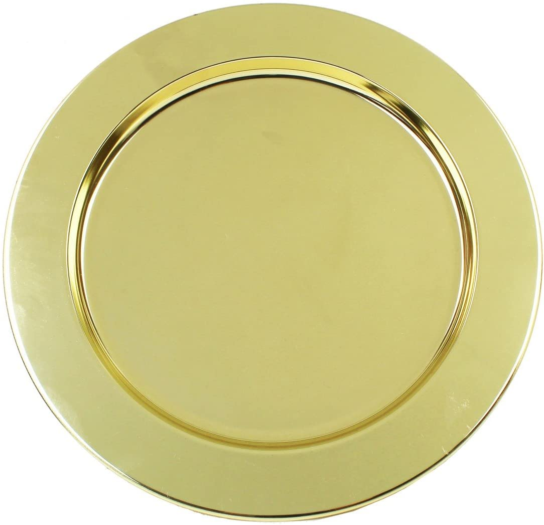 Ms Lovely Gold Stainless Steel Metal Charger Plates - Set of 4-13 inch