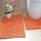 Tappetini per bagno - 100% cotone ritorto - set da 2 - Arancione