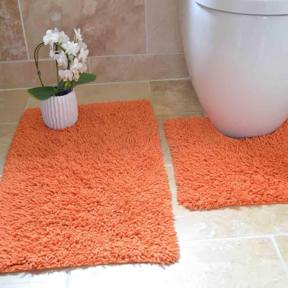 Tonys Textiles Juego de 2 Alfombrillas Gruesas para ba/ño Naranja 100/% algod/ón Trenzado