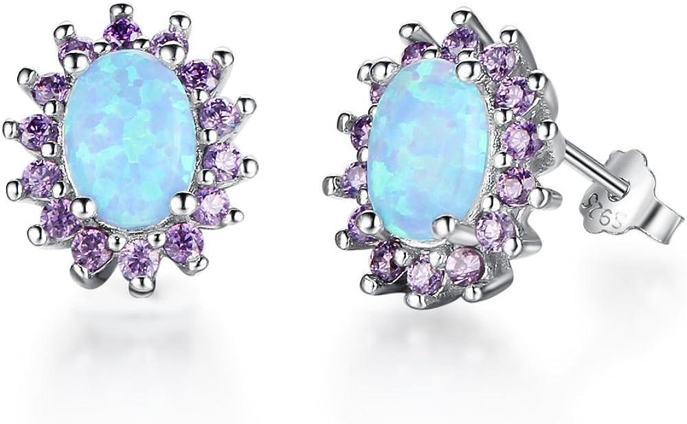 Pendientes de tuerca de plata de ley 925 con circonita cúbica de color morado con diamantes de imitación y ópalo azul
