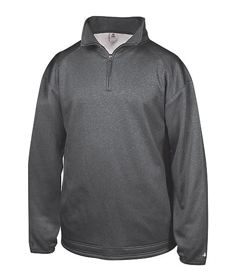2825feef5ba Badger Mens Pro Heathered Fleece 1 4 Zip Sweatshirt (1483) Carbon at ...