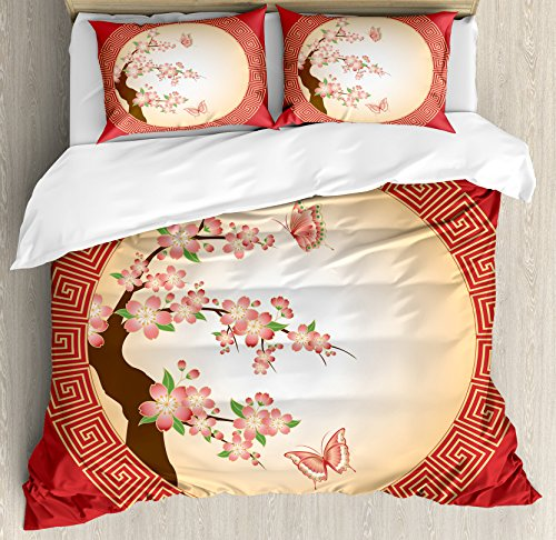 House Decor Duvet Cover Set by Ambesonne, Oriental Cherry Blossom with Butterflies in Circle Frame Ornamental Illustration, 3 Piece Bedding Set with Pillow Shams, Queen / Full, Pink Red ()