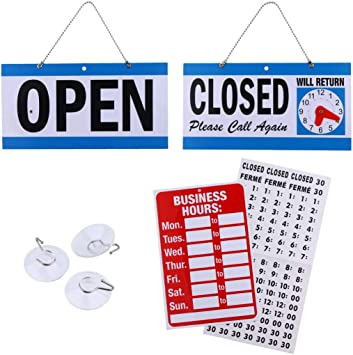 Bundle of Office Hours Sign Will Return Clock with Suction Cups for Door Window Businesses Stores Restaurants Bars Retail Barbershop Salon Shops Business Hour Open Closed Sign