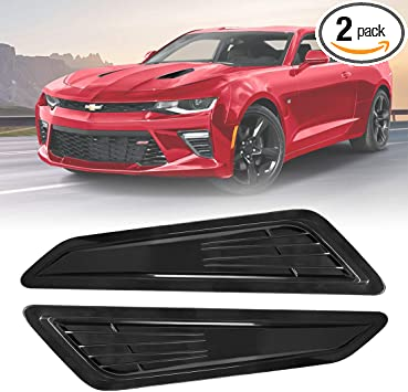 Miniclue SS Style Black Bonnet Hood Vent Scoop Covers for 2016-2018 Chevy Camaro LT 1LT 2LT RS