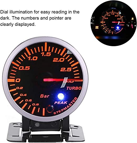 BiuZi Turbo Boost Gauge 2.5inch 60mm 3.0 Bar Universal Car Modification Turbo Boost Pointer Meter LED DC12V