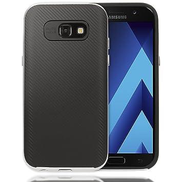 NALIA Funda Carbono Compatible con Samsung Galaxy A3 2017, Carcasa Cobertura Ultra-Fina con Bumper Marco de Look Metal, Gel Cover Movil Protectora ...