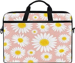 HAIIO Laptop Bag Case Flower Daisy Floral Pattern Print Computer Protector Bag 14-14.5 inch Travel Briefcase with Shoulder Strap for Women Men Girl Boys