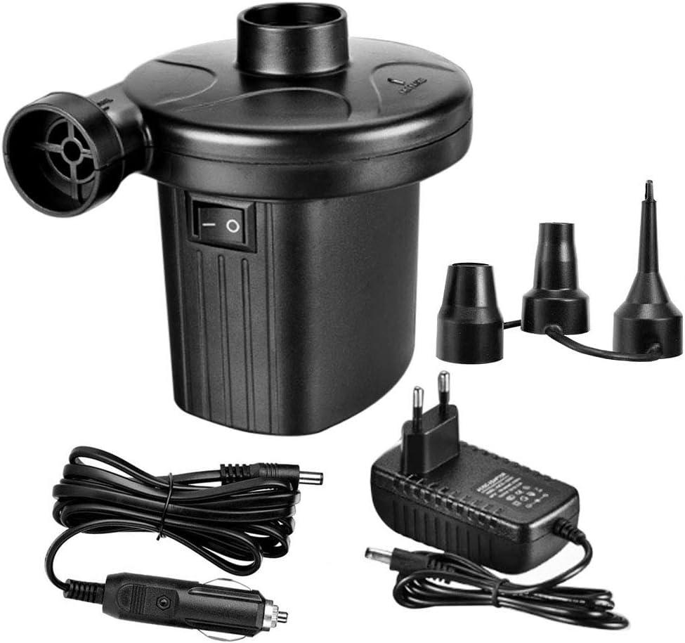 Bomba de aire eléctrica DAMIGRAM, adaptador de boquilla de inflado y desinflado con 3 accesorios de inflado y desinflado, utilizados para globos, colchones inflables, autos de juguete inflables, etc.