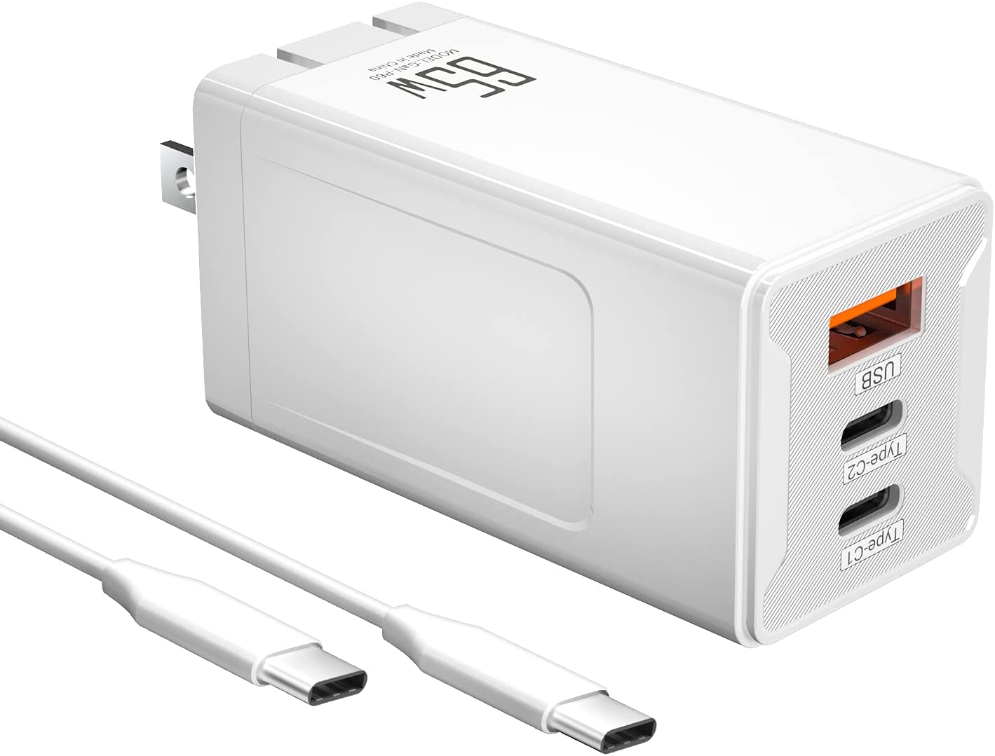 USB C Charger, 65W 3-Port Foldable Fast Wall Charger Block with PD3.0 Protocol and GaNFast Technology for iPhone 12/12 Mini/12 Pro, SE, MacBook Pro, iPad, AirPods Pro, Pixel 4XL, Galaxy S10