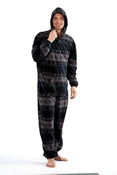 Octave - Hombre gris caliente de lana mono/pijama/jumpsuit [talla m/