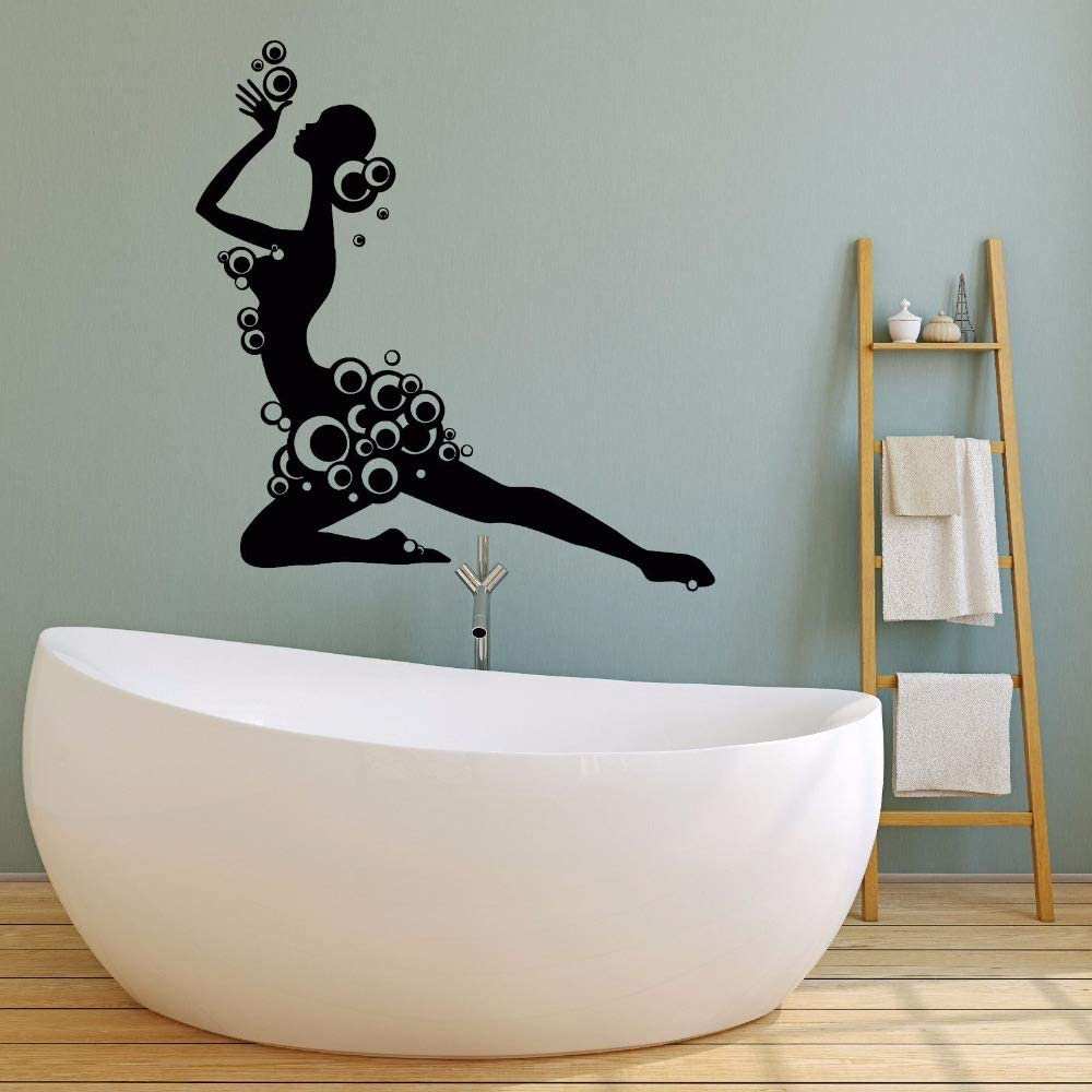 YuanMinglu Bathroom Decor Girl Silhouette with Foam Wall Sticker Vinyl Wall Decal Style Bathroom Shower Foam Wall Art Black 42x45cm: Amazon.es: Hogar