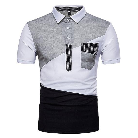 Moderne Courtes Mode Patchwork À Polo Shirt Slim T Fit Manches Homme c4A3RSj5Lq