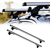 "VXMOTOR 50"" Universal Silver Aluminum Adjustable Window Frame - Roof Top Rail Rack Tube Cross Bars Luggage Cargo Carrier Kit T1"