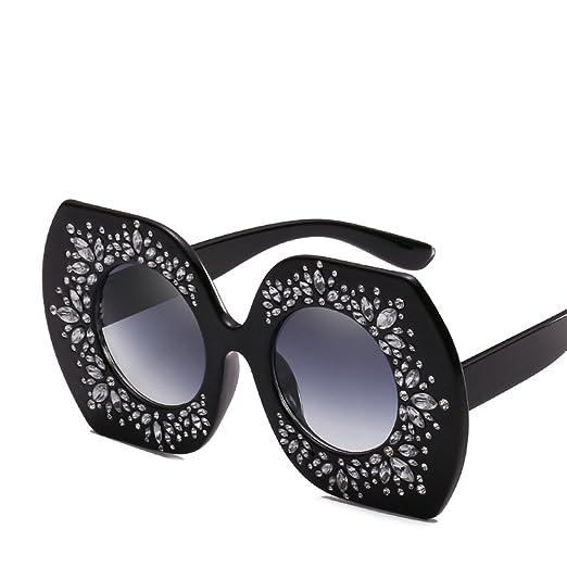 11c756efd41 Oversized Rhinestone Sunglasses Women Luxury Brand Sun Glasses Vintage  Party (black)