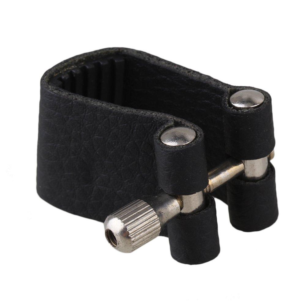 Yibuy 95mm Black Leather Tenor Saxophone Mouthpiece Ligature Fastener