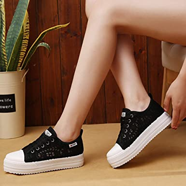 397324855af41 Amazon.com: Goddessvan 2019 Women's Breathable Canvas Sneakers Lace ...