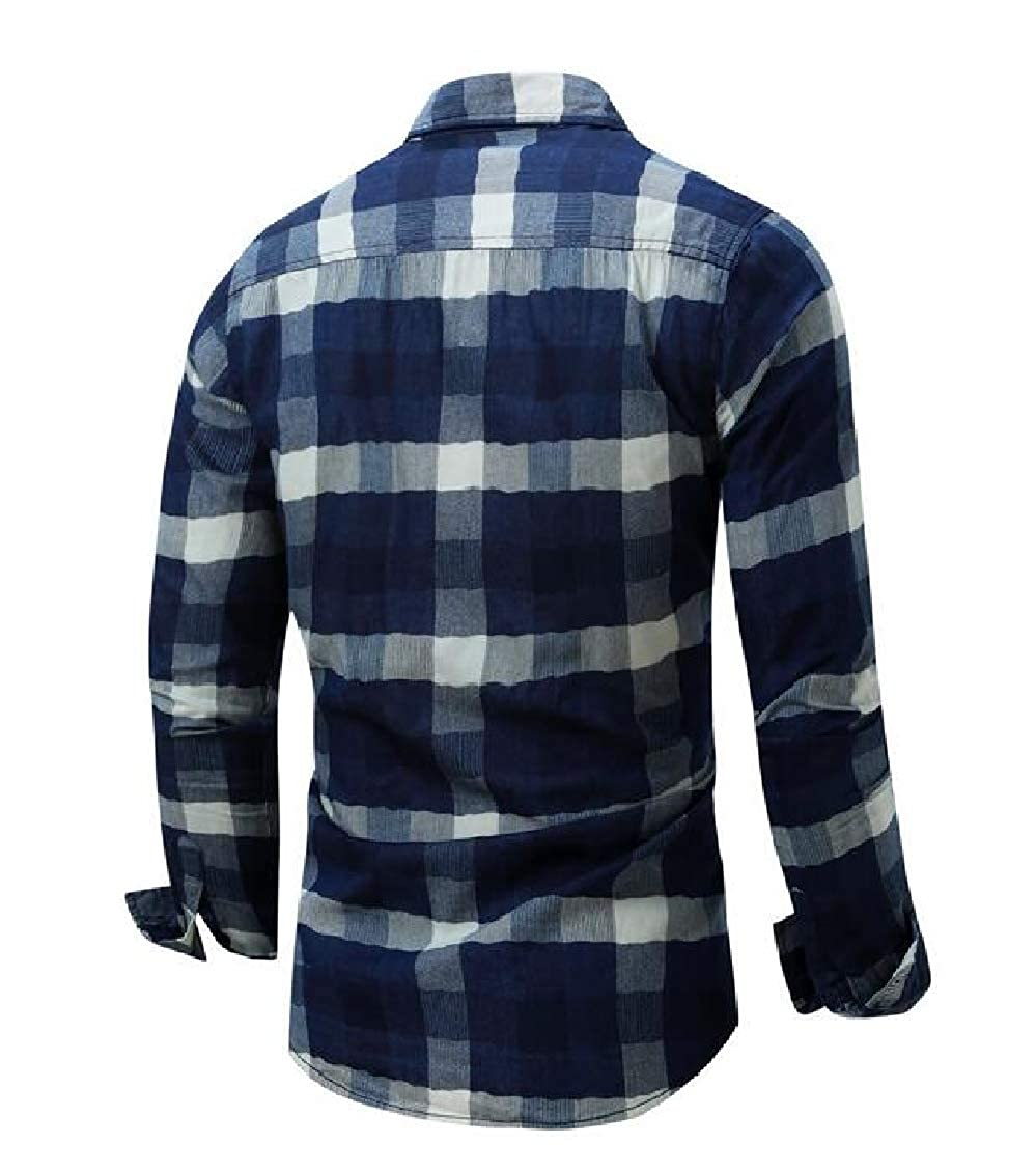 Hajotrawa Mens Slim Checkered Long Sleeve Button Front Plus Size Lapel Shirts