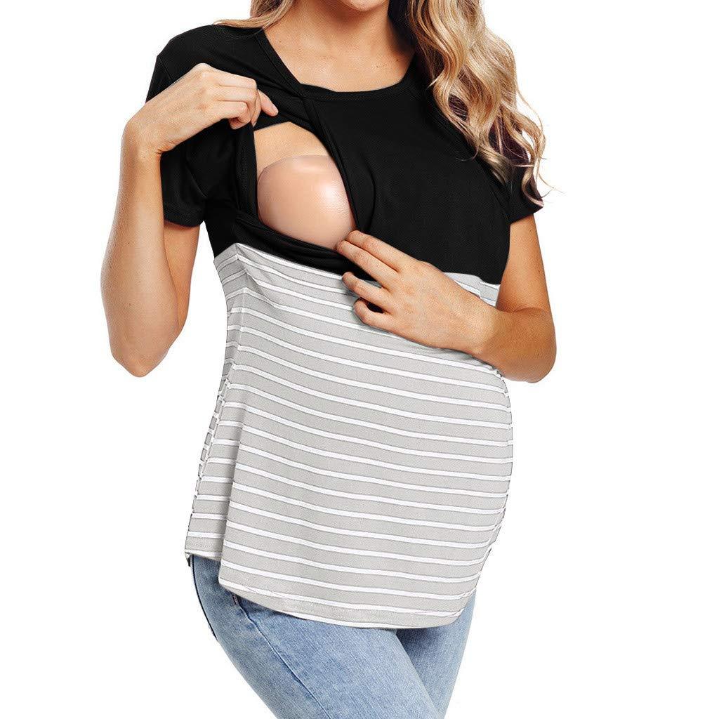 Lonshell Damen Still Umstands-Top Gestreifte Kurzarm T-Shirt Mutterschafts Stillzeit Umstandslangarmshirt Schwangerschaft Sommer Oberteile Umstandsmode Bluse Tops
