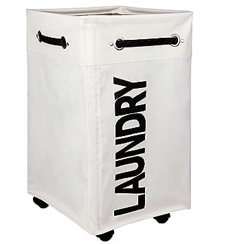 AcmeSoy Cesto Ropa Sucia con ruedas [Plegable][4 Asas][Impermeable][Cubierta de malla], Cesta de Gran Capacidad para Colada/Juguete Infantil-Blanco: ...