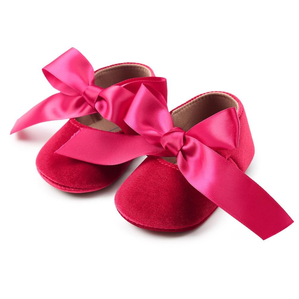 Voberry Baby Girls Velvet Mary Jane with Bowknot Princess Dress Shoes Soft Sole Crib Shoes