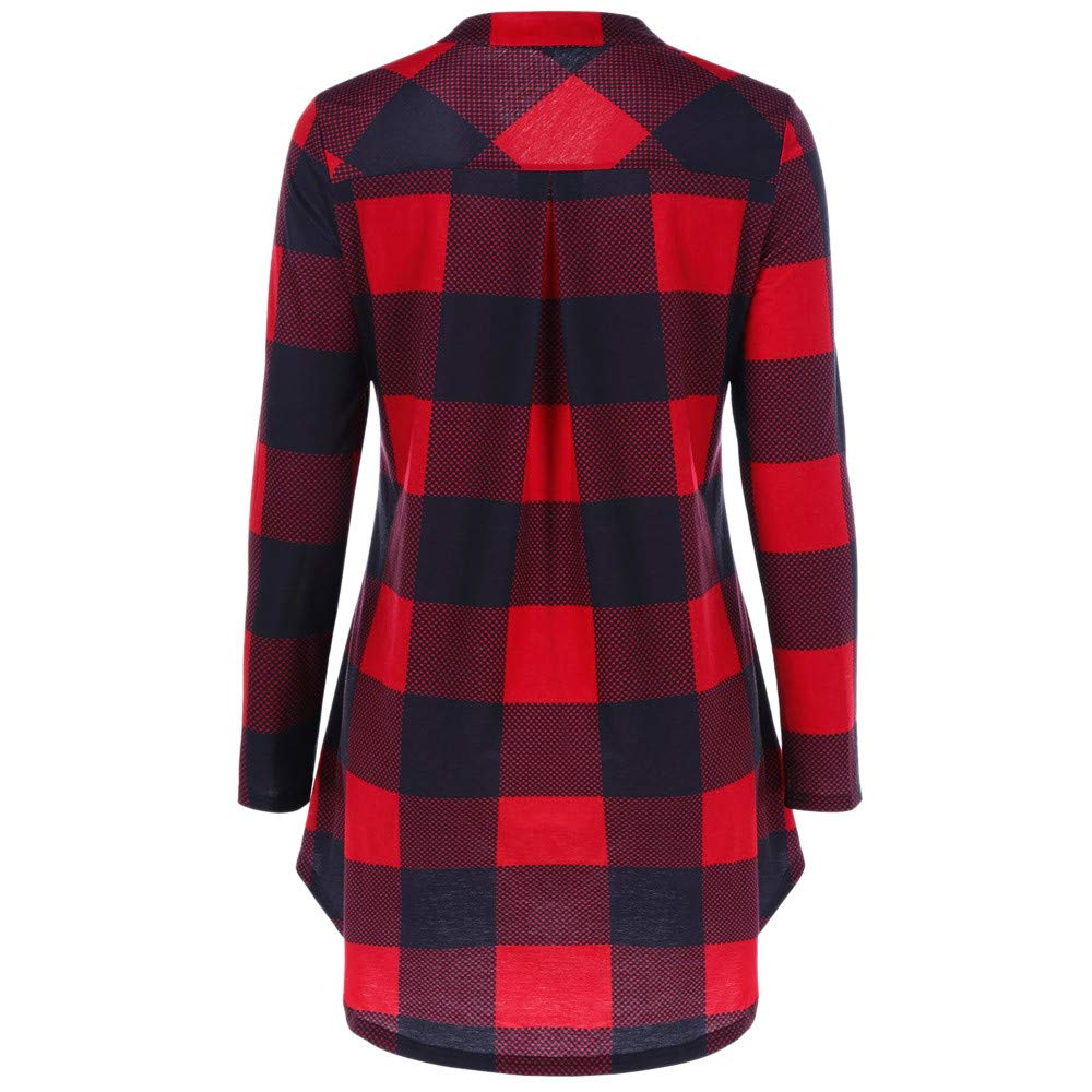 Bravetoshop Women Henley V-Neck Plaid Tunic Long Sleeve Casual Shirt Flare Hem Top