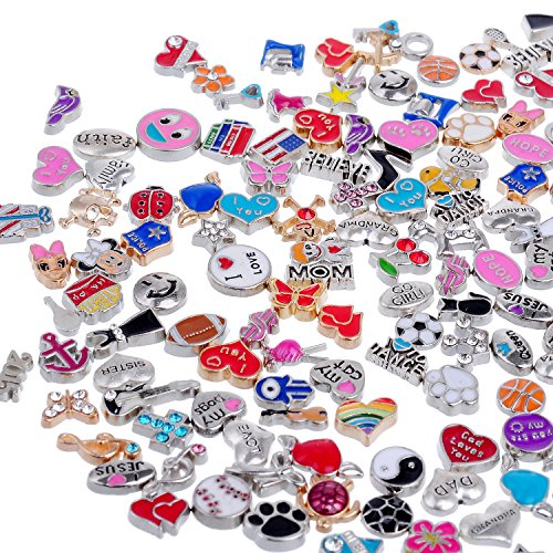RUBYCA Wholesale 50pcs Floating Charms Lot for DIY Glass Living Memory Locket Mix Silver Gold - Charm Holiday Necklace
