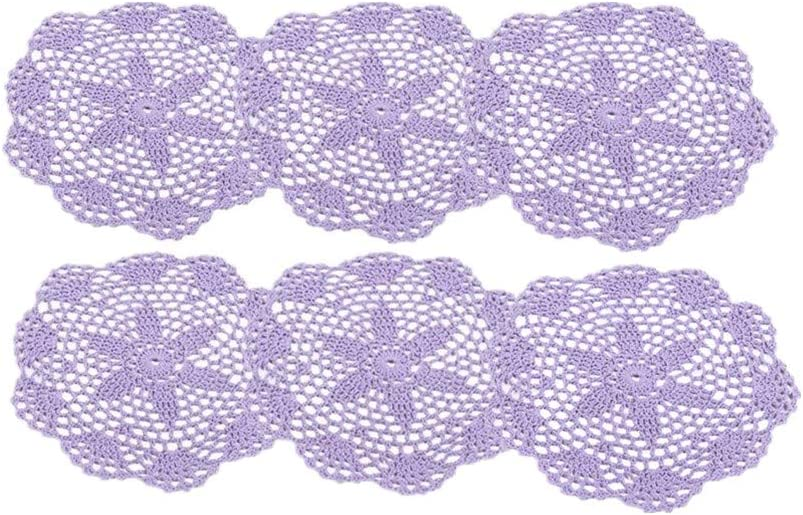 6 Pack Round Lace Vintage Embroidered Floral 8 Inch Mat Coaster Crochet Knitted