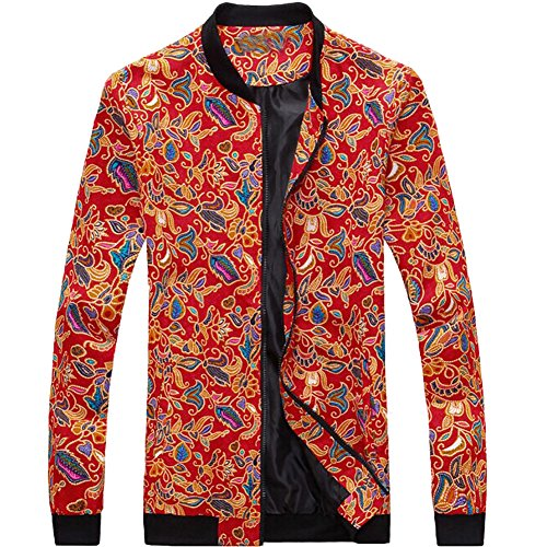eYourlife2012 Men's Slim Fit Floral Pattern Stand Collar Zipper Overcoat Jacket