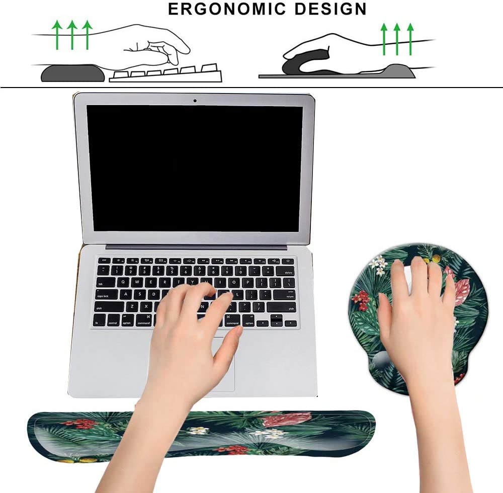 Ergonomic Mouse Pad Wrist Support and Keyboard Wrist Rest Set with Non-Slip Backing Memory Form-Filled Easy-Typing and Pain Relief for Gaming Office Computer Laptop