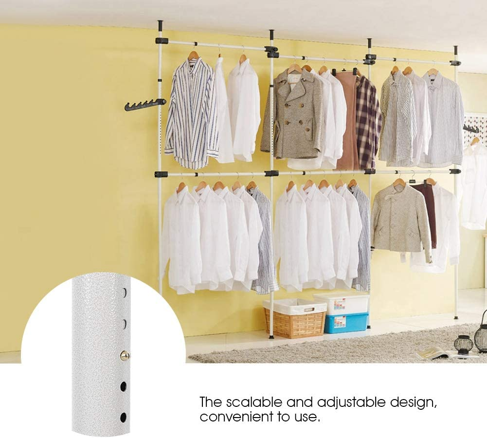 lyrlody Garment Rack 4 Poles 6 Bars Heavy Duty Portable Telescopic Clothes Wardrobe Organiser Movable Clothes Hanging Rail Storage Shelves Clothes Rack Free Reach Hook,High Ceiling up to 3.2m