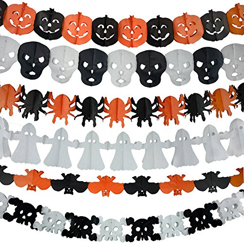 6Pcs Precious Halloween Easter Paper Chain Garland Decoration Prop Pumpkin Bat Ghost Spider Skull Shape (Outdoor Halloween Decorations Cheap)