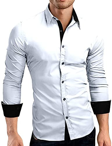 Geilisungren Hombre Camisa Manga Larga Slim Fit M-XXXL: Amazon.es: Ropa y accesorios