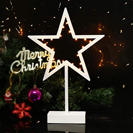 bright zeal christmas lights battery operated white star lights table top decor 15 tall