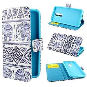 TUTUWEN Elephants Design Wallet PU Leather Stand Flip Case Cover for LG G2