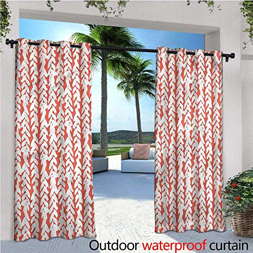 warmfamily Coral Outdoor Blackout Curtains Braid Boho Hipster Ethnic Outdoor Privacy Porch Curtains W120 x L108