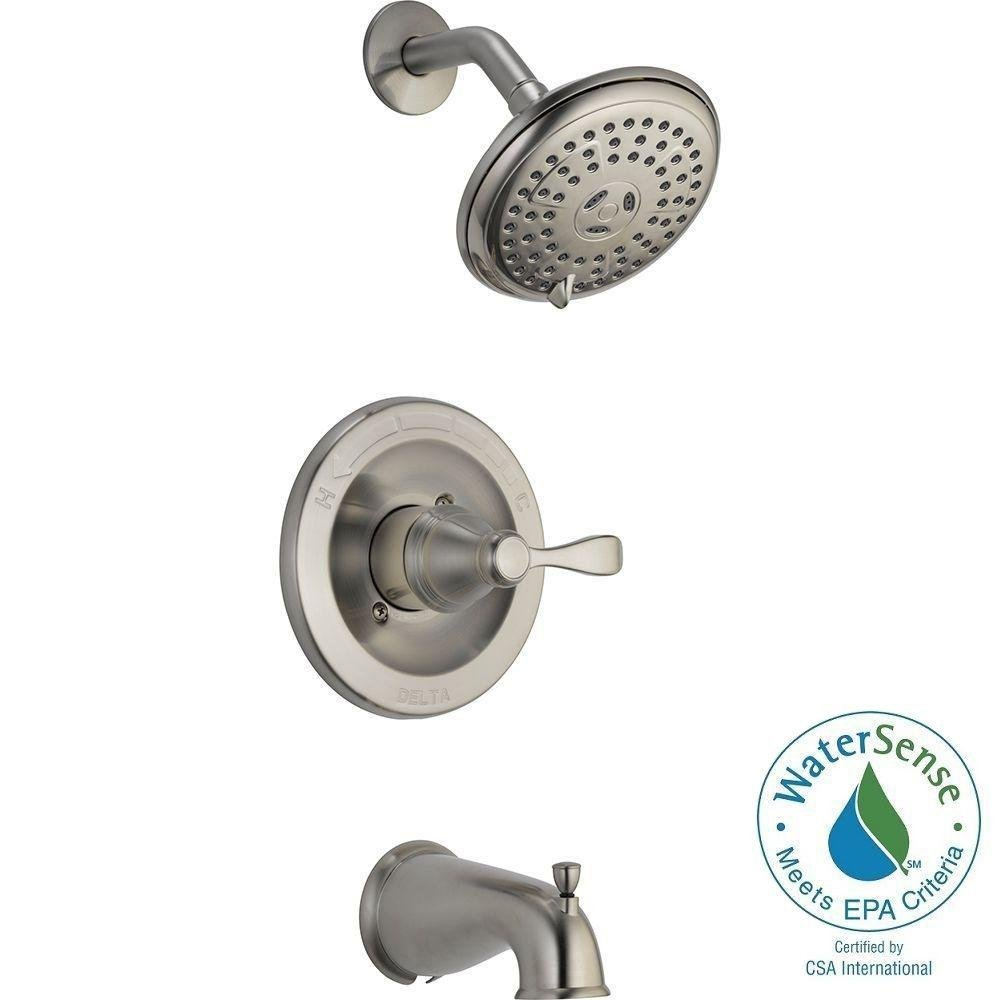 Delta Porter Single Handle Tub Shower Set Brushed Nickel 144984 Bn