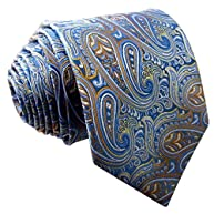 Shlax&Wing Silk Neckties Ties Blue Paisley Wedding Extra Long Size
