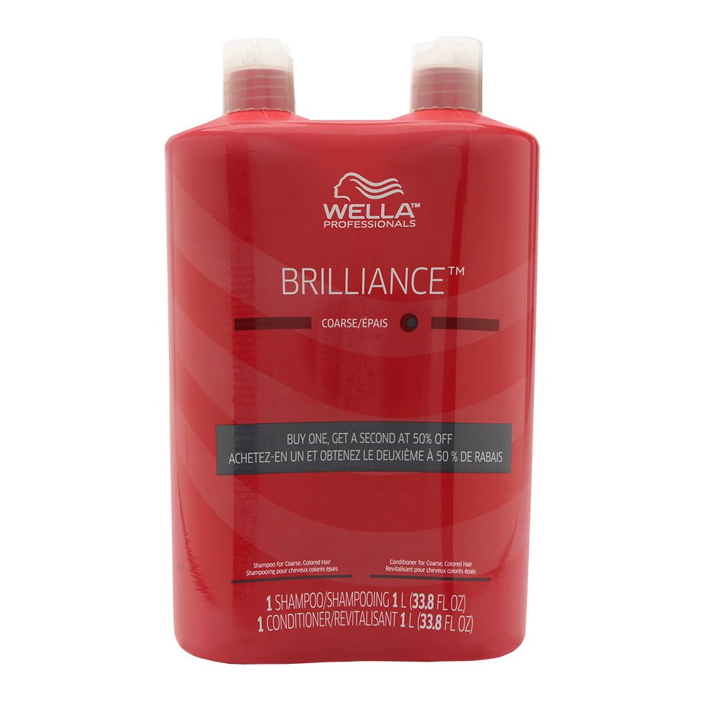 Wella Brilliance Shampoo and Conditioner Liter Duo for Coarse Colored Hair, 33.8 Ounce by Wella