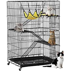 Yaheetech 4-Tier Cat Cage | Cat Playpen w/2 Front Doors/3 Ramp Ladders & 4 Casters | Ideal for 1-2 Cats | Cage Measures 32L x 22W x 48H inchs