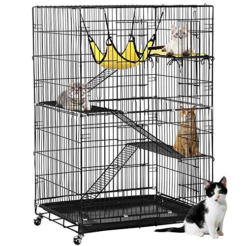Yaheetech 4-Tier Cat Cage | Cat Playpen w/2 Front Doors/3 Ramp Ladders & 4 Casters | Ideal for 1-2 Cats | Cage Measures 32L x 22W x 48H ()