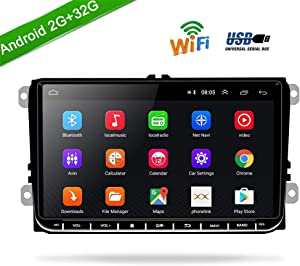 "Car Stereo Car Radio Android 2G RAM+32G ROM Indash Head Unit for Volkswagen Jetta Passat Golf Touran Polo SEAT Skoda 9"" Touch Screen with GPS Navigation WiFi Bluetooth FM USB+Backup Camera"