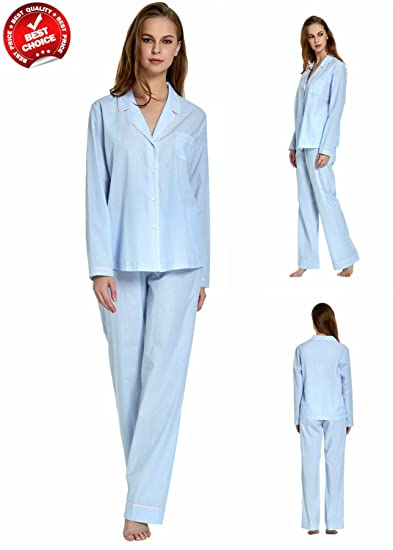 9dc8536396 ever conForm 100% Cotton Mens Pajamas 2 Piece Blue Long Sleeve Sleepwear  Drawstring PJS Set