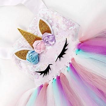 Princesa Unicornio Vestidos de Ballet Tutú de Tul Vestidos de Flores Arco Iris Vestir Fiesta de Boda Halloween Navidad Fancy Up: Amazon.es: Ropa y accesorios