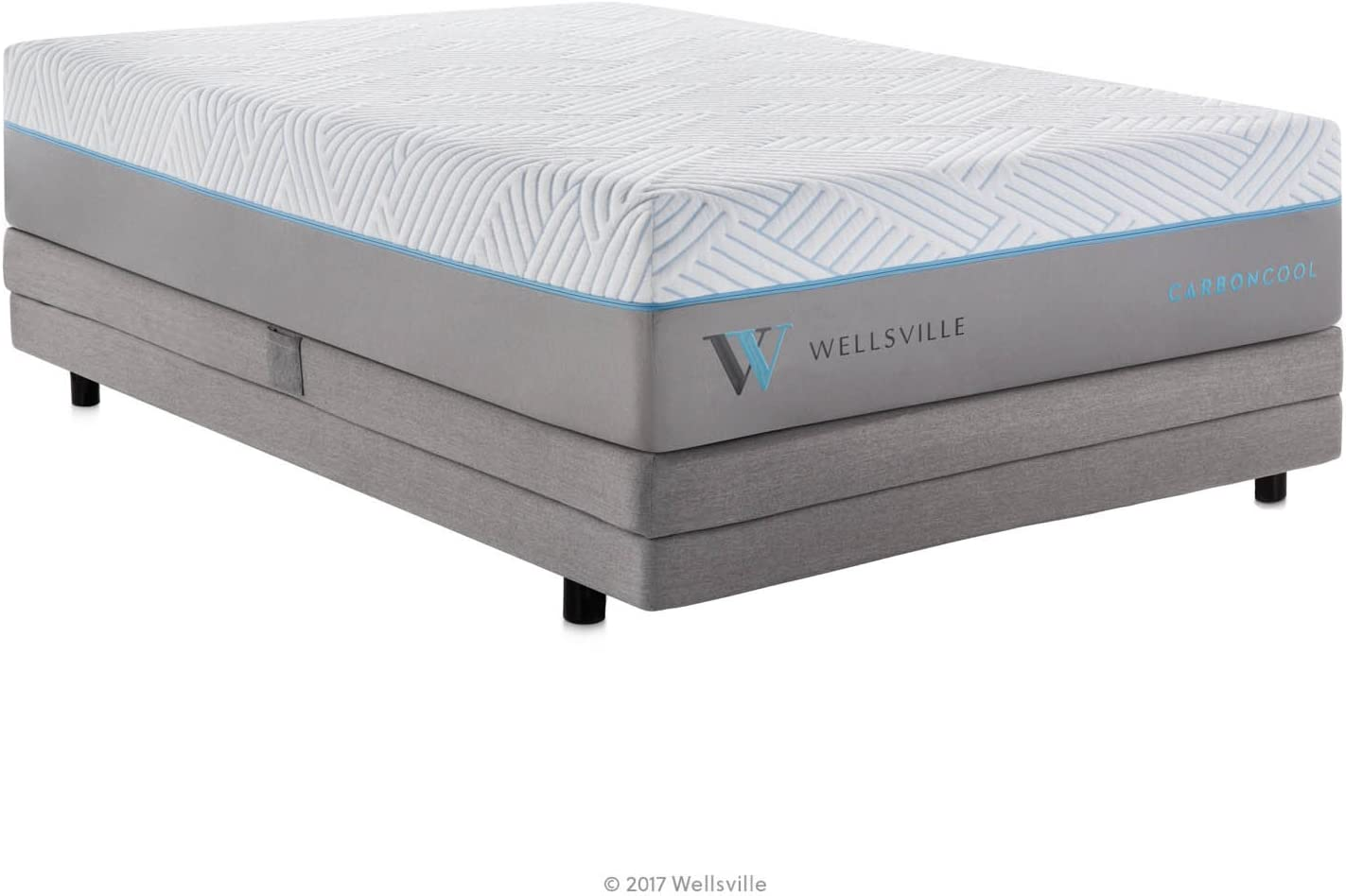 WELLSVILLE 14 Inch CarbonCool Memory Foam Premium Mattress, Twin