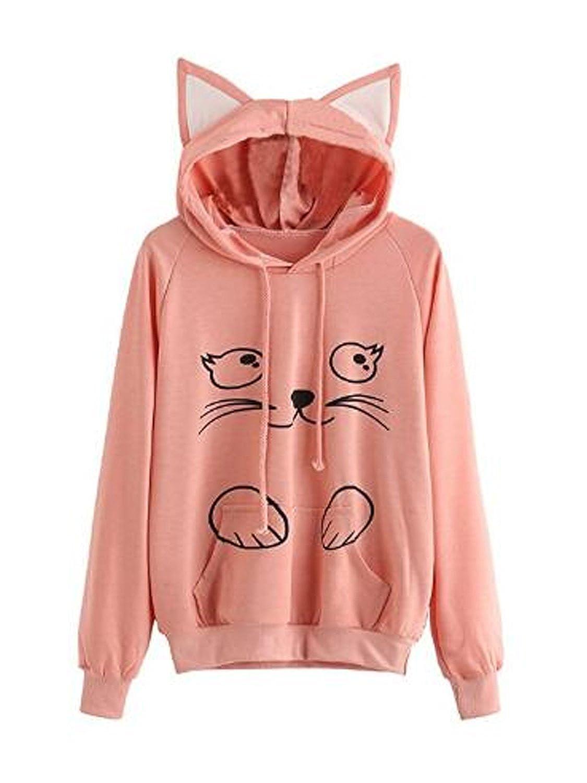 PERSUN Girls Cute Cat Ear/Unicorn Pullover HoodieLong Sleeve Kangaroo Pouch Sweatshirts Hoody