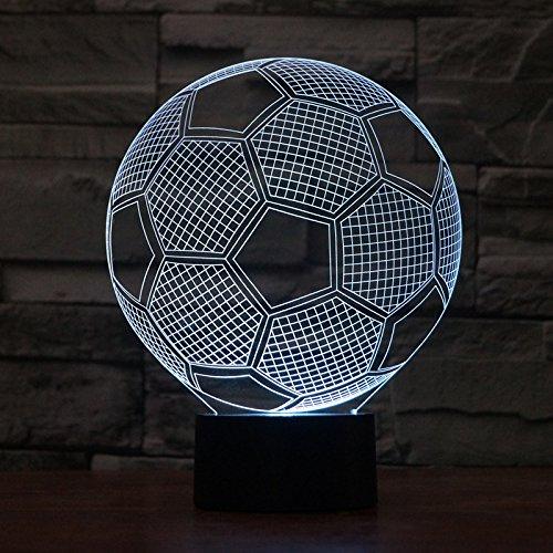 Soccerランプ3dランプLED夜間ライトタッチデスクデスクトップ光学式スライド7色変更ライト誕生日プレゼント祝日ギフトライト1.5 Meter USBコネクター AKL010 B07C237HDW 19319  サッカー